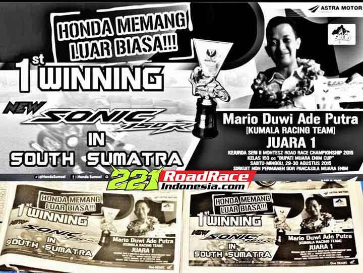 Honda New Sonic 150R Juara Road Race Motoprix