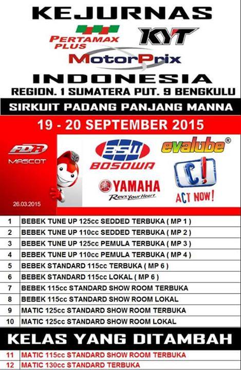 Road Race Bengkulu Kejurnas Motoprix Region 1 Seri 9 2015 September 20